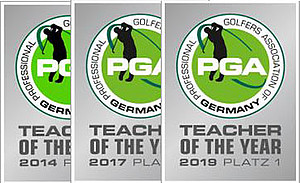 Abzeichen PGA Teacher of the Year 2014, 2017, 2019 Platz 1